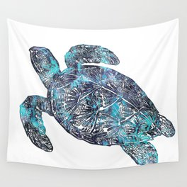 Sea Turtle Blue Watercolor Art Wall Tapestry