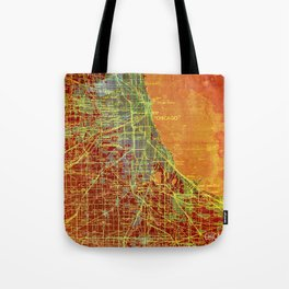 10-Chicago Illinois 1947, old map, orange and red Tote Bag