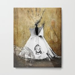 American Tribal Indian Teepee, Horse and Warrior Fine Art Photography print  Metal Print