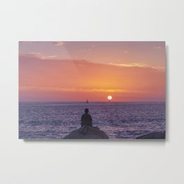 Man Enjoying Sunset Metal Print