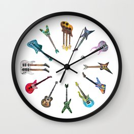 Electric Guitars Watercolor Wall Clock