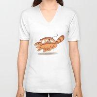 indiana jones V-neck T-shirts featuring Indiana Jones Riding Catbus by Aimee Zhou