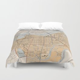 Vintage Map of Ottawa Canada (1915) Duvet Cover