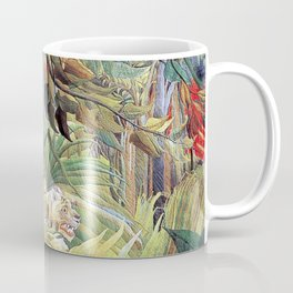 Tiger in a Tropical Storm (Surprised!) by Henri Rousseau 1891 // Jungle Rain Stormy Weather Scene Coffee Mug