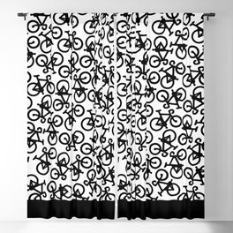 Black Bikes Pattern Blackout Curtain