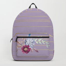 Pastel Watercolor Floral with Metallic Stripes Backpack
