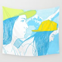 girls Wall Tapestries featuring Girls by Camila Fernandez