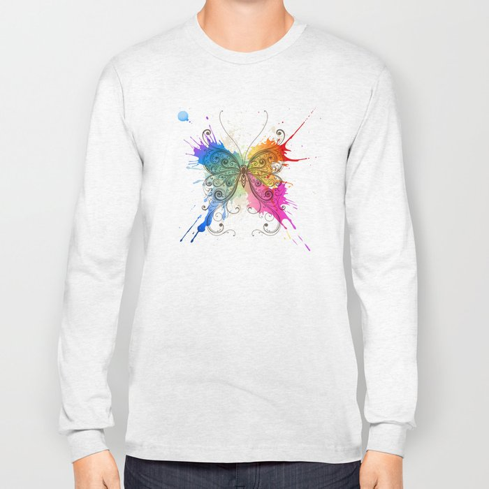 Butterfly Color Explosion Long Sleeve T-shirt
