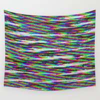 channel Wall Tapestries featuring Glitch: Channel Y by Leone Bachega