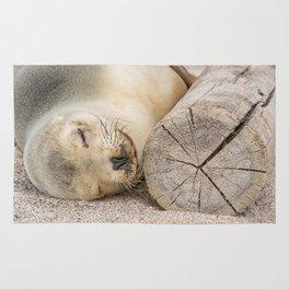 Sleeping sea lion on the beach Rug