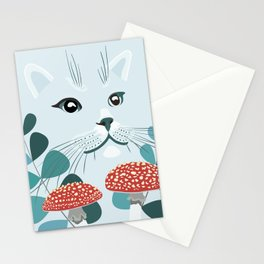 Blue Forest Cat Stationery Cards