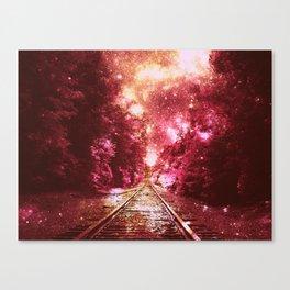 Train Tracks Burgundy : Next Stop Anywhere Canvas Print