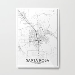 Minimal City Maps - Map Of Santa Rosa, California, United States Metal Print