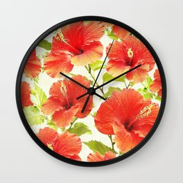 FLORAL PATTERN - HIBISCUS - Wall Clock