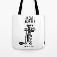meat Tote Bags featuring Meat Grinder by UiNi