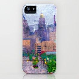 Baltimore Skyline near Johns Hopkins on a Rainy Day iPhone Case