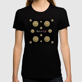 Gold and Black Art Is Life Mandala Repeated Graphic Design T-shirt