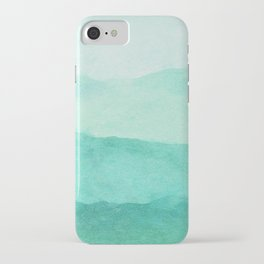 Ombre Waves in Teal iPhone Case
