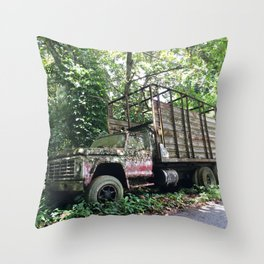 Roadside camouflaged abandon truck. Throw Pillow