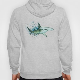 """Great Hammerhead Shark"" by Amber Marine ~ Watercolor Painting, (Copyright 2016) Hoody"