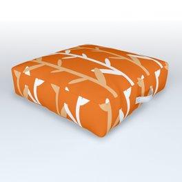 Oat Field Leafy Orange Pattern Outdoor Floor Cushion