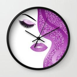 Purple glitter woman Wall Clock