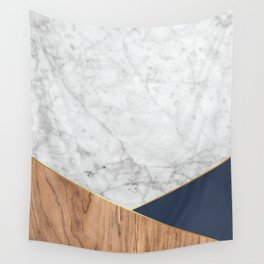 White Marble - Wood & Navy #599 Wall Tapestry