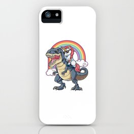 Unicorn riding Dinosaur iPhone Case