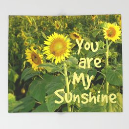 Sunflower Art // You are My Sunshine, Art with Bees Throw Blanket