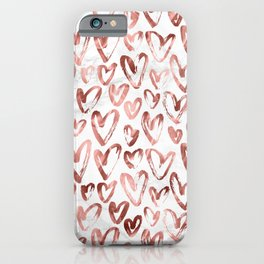 Rose Gold Love Hearts on Marble iPhone Case