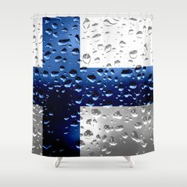 Flag of Finland - Raindrops Shower Curtain