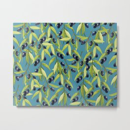 Watercolor Olive Branch Leaves on Stormy Blue Metal Print