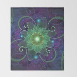 Glowing Blue-Green Fractal Lotus Lily Pad Pond Throw Blanket