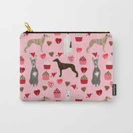 Whippet valentines day cupcakes love hearts dog breed pet portrait whippets pure breed dog gifts Carry-All Pouch
