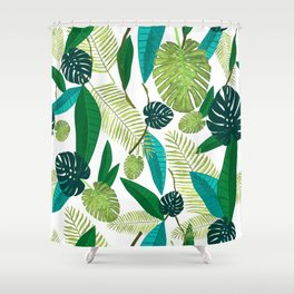 Tropical Green Leaves Shower Curtain