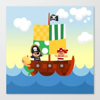 pirate ship Canvas Prints featuring pirate ship by Alapapaju