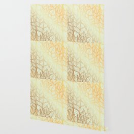 Bohemian Gold Feathers Illustration With White Shimmer Wallpaper