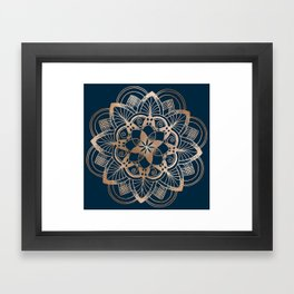 Lotus metal mandala on blue Framed Art Print