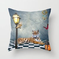 relax Throw Pillows featuring Relax by haroulita
