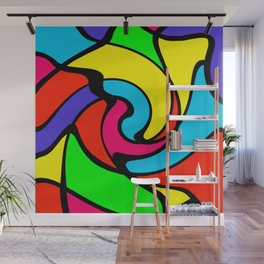 Colorful Swirly Bright Stained Glass Abstract Wall Mural