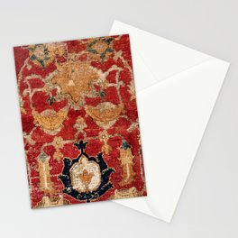 Indo Esfahan Central Persian Rug Fragment Print Stationery Cards