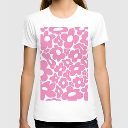 60s 70s Hippy Flowers Pink T-shirt