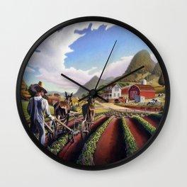 Farmer Cultivating Peas Farm Landscape Wall Clock