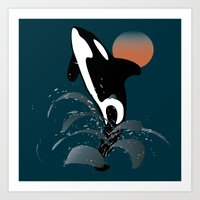 orca Art Prints featuring Orca by VanessaGF