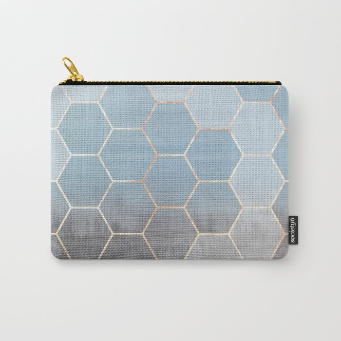 honeycomb winter forest // copper & blue Carry-All Pouch