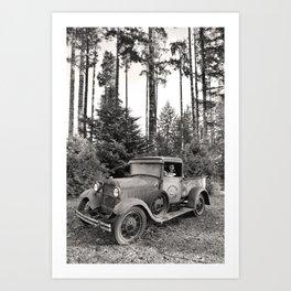 Buck Nasty's Moonshine Model A Ford Vintage Truck Skeleton Art Print
