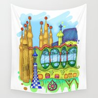 barcelona Wall Tapestries featuring Barcelona by Aleksandra Jevtovic