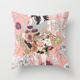 Flower Babe with Tattoos Throw Pillow