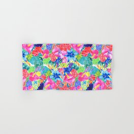 Tropical Flower Watercolor Bouquet Hand & Bath Towel