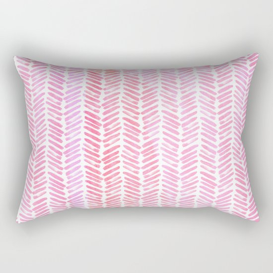 Handpainted Chevron pattern-small- pink watercolor on white Rectangular Pillow
